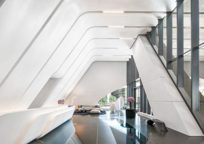 Photograph of the lobby at One Thousand Museum condo.
