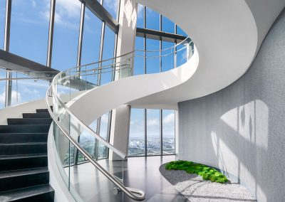 Photograph of an elegant staircase at One Thousand Museum condo.