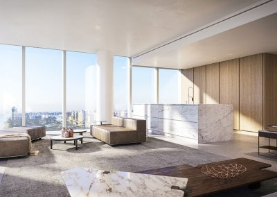 3D rendering sample of a large interior at 2000 Ocean condo.
