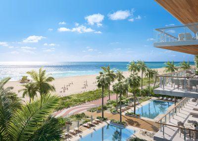 3D rendering sample of the pool deck design at 57 Ocean condo.