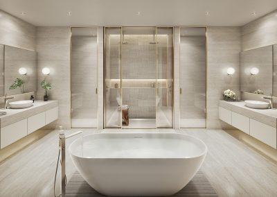 3D rendering sample of a modern bathroom design at 57 Ocean condo.