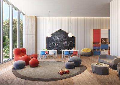 3D rendering sample of the children's playroom design at 57 Ocean condo.