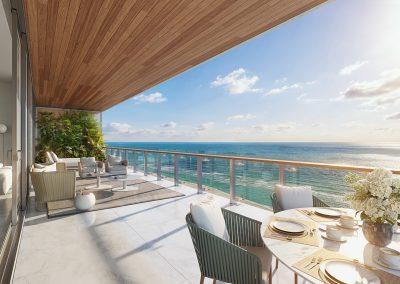 3D rendering sample of a large terrace at 57 Ocean condo.