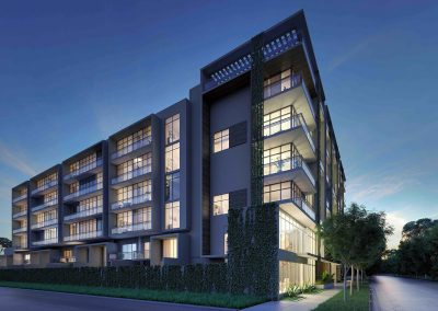 3D rendering sample of Arbor Residences Miami condo at night.