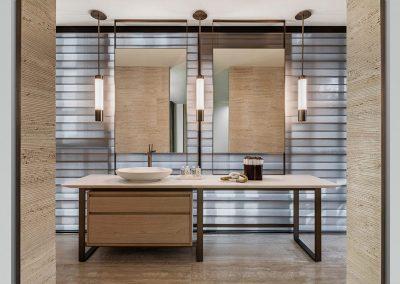 Photograph of a modern bathroom design at Arte Surfside condo.