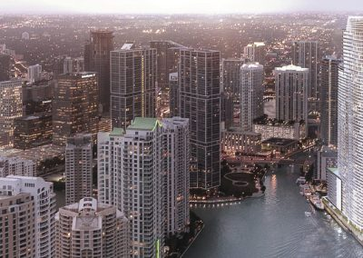 3D rendering sample of Aston Martin Residences' location in Downtown Miami at dusk.