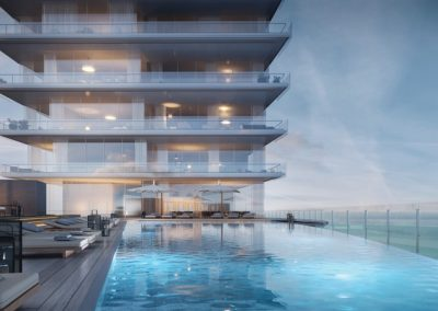3D rendering sample of Aston Martin Residences' pool deck in the evening.