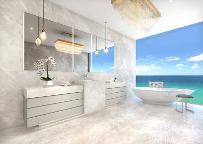 3D rendering sample of a luxurious bathroom design at The Estates at Acqualina condo.