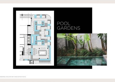 Architectural illustration of Legacy Hotel & Residences' pool garden aquatic experiences.