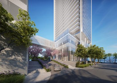 3D rendering sample of the building arrival by car at Missoni Baia condo.
