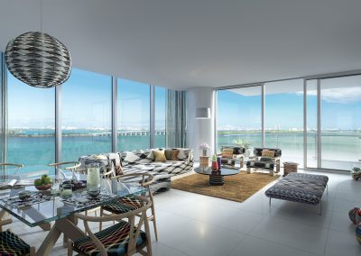3D rendering sample of a dining and living room design at Missoni Baia condo.