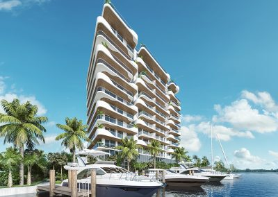3D rendering sample of a the private marina at Monaco Yacht Club & Residences.