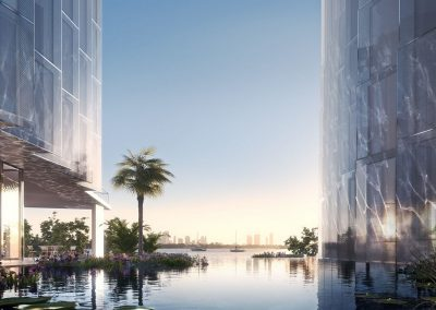 3D rendering sample of a reflection pool at Monad Terrace condo.