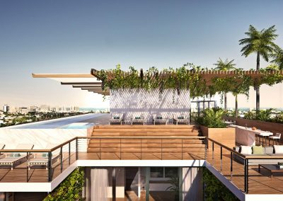 3D rendering sample of the rooftop pool deck at Monad Terrace condo.