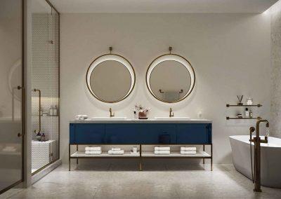 3D rendering sample of a large, modern bathroom design at Mr. C Residences condo.
