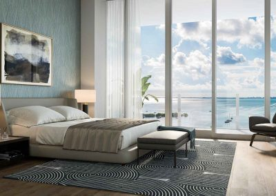 3D rendering sample of a bedroom design at Mr. C Residences condo.