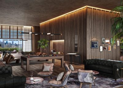 3D rendering sample of the game room at Natiivo Miami condo.