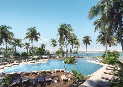 3D rendering sample the pool deck design at Natiivo Miami condo.