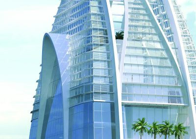 3D rendering sample of the top of Okan Tower condo at daytime.