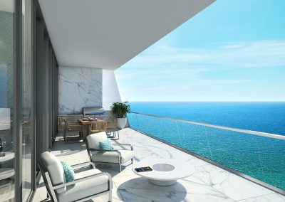 3D rendering sample of a terrace at Turnberry Ocean Club condo.