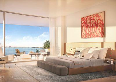 3D rendering sample of a modern bedroom design at Una Residences condo.