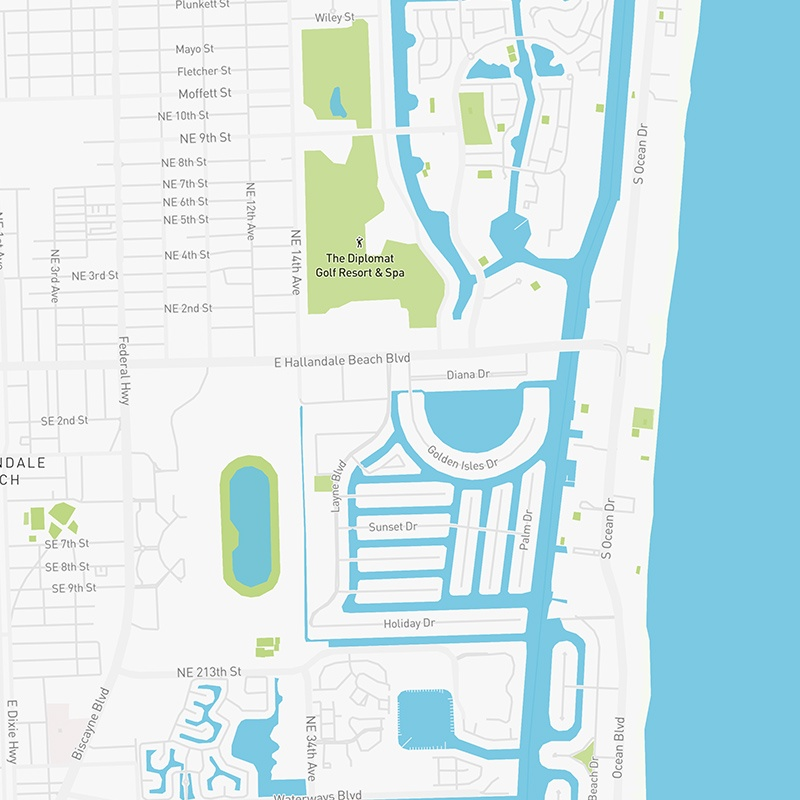 Map illustration of Coral Gables, Florida.